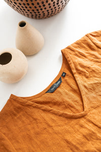 The Linen Boxy Top in Rust