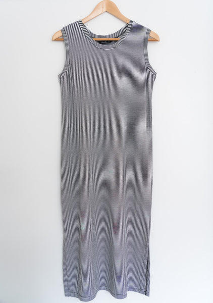 The Tank Dress in Charcoal Stripe
