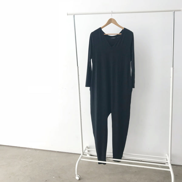 The Long Sleeve Romper in Black