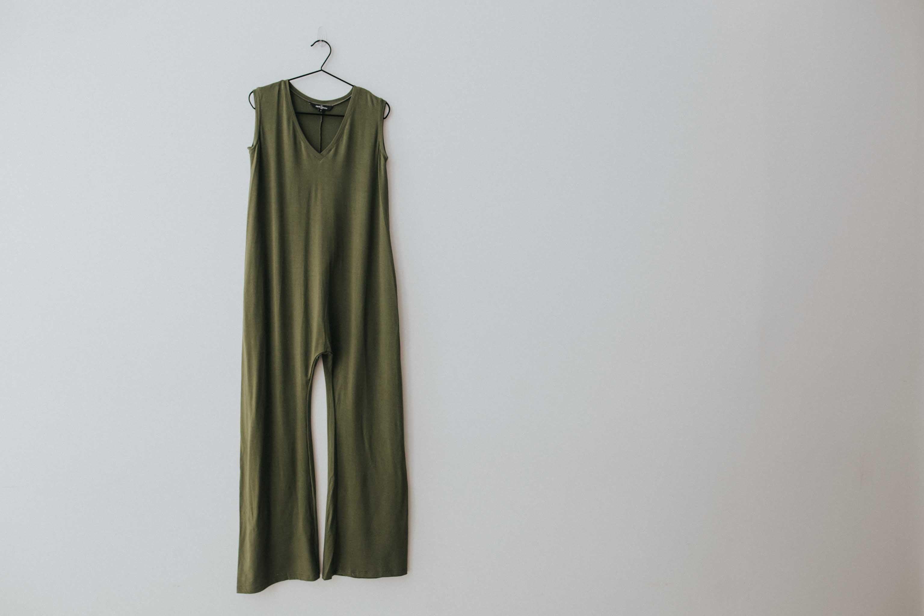 The Sleeveless Romper in Olive
