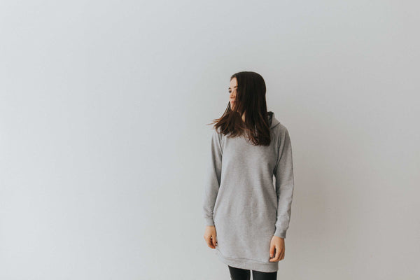 The Hooded Dress in Heather Grey