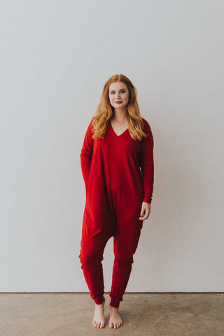 The Long Sleeve Romper in Red