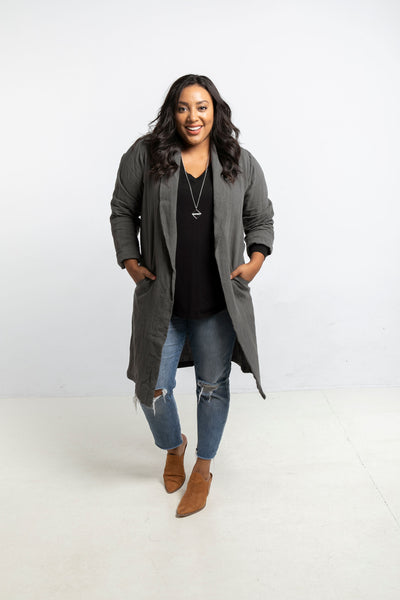 The Linen Duster in Charcoal