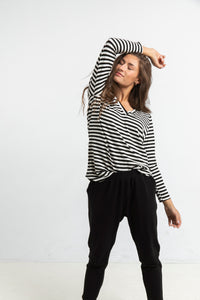 The Long Sleeve Perfect T in Stripes