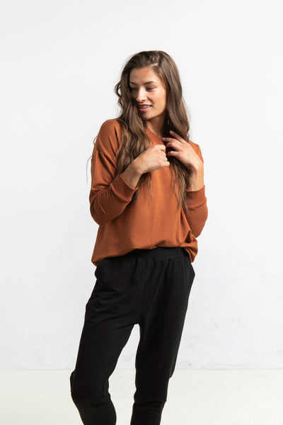 The Drop Shoulder Pullover in Rust