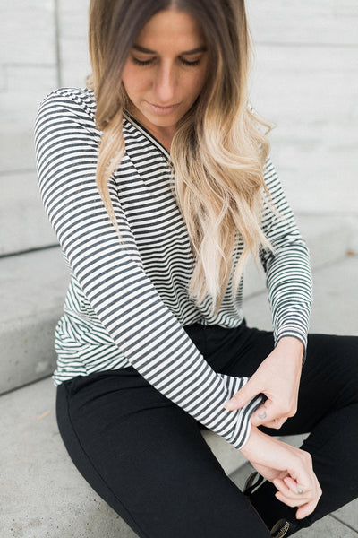 The Long Sleeve Perfect T in Charcoal Ivory Stripes