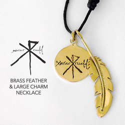 Jewellery | Brass Feather & Large Charm Necklace