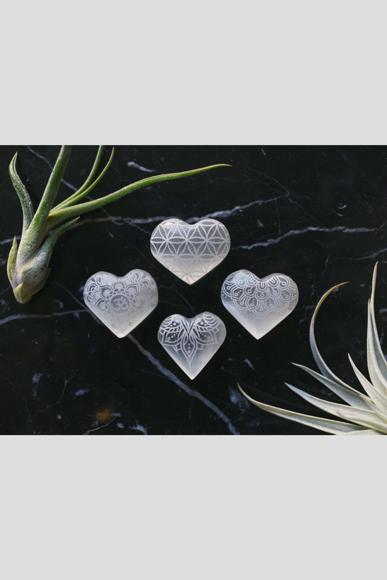 Extra Small Mandala & Sacred Geometry Etched Selenite Heart