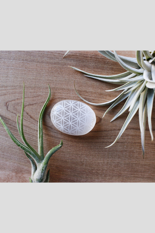 Adorable Mini Selenite Palmstone Etched with Sacred Geometry Flower of Life Pattern