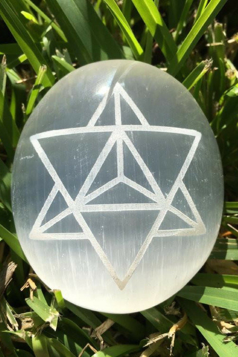 Pure Selenite Palm Stone with Merkaba Star Etching