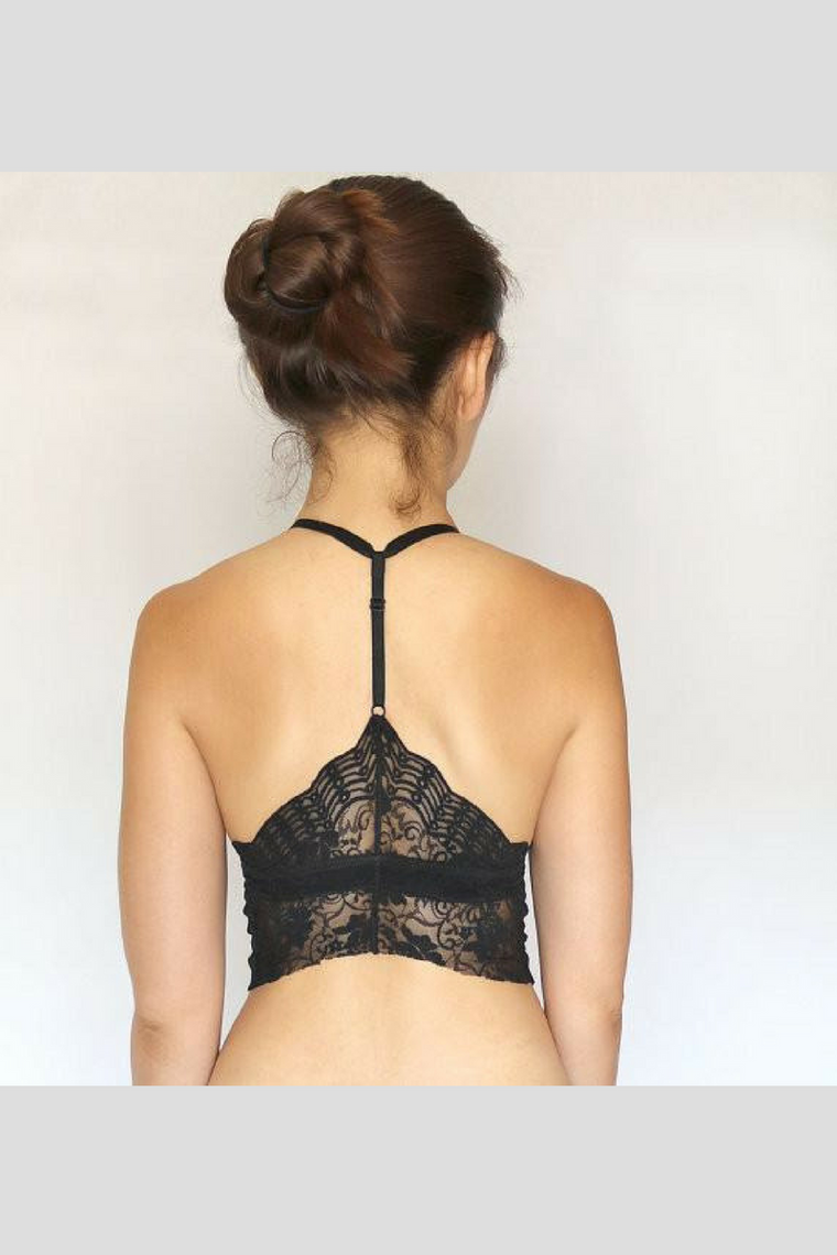 Black Racer Back Lace Bra