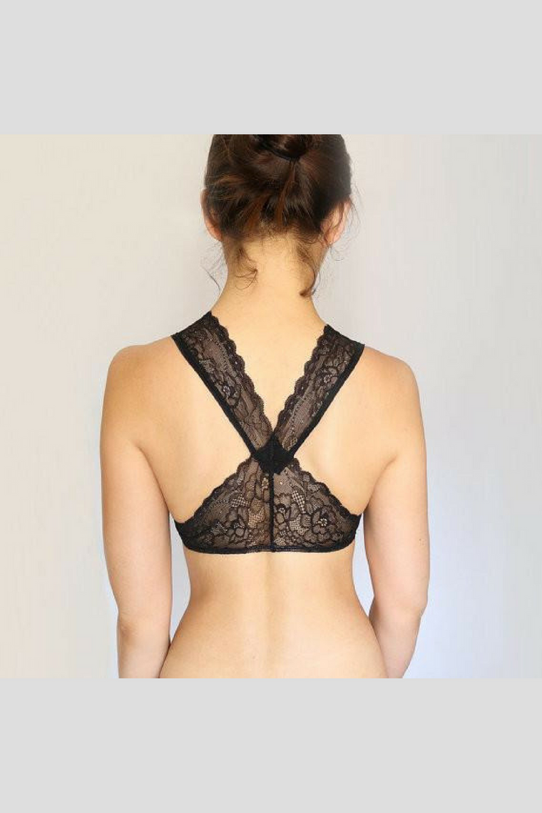 Black Scalloped Lace Back