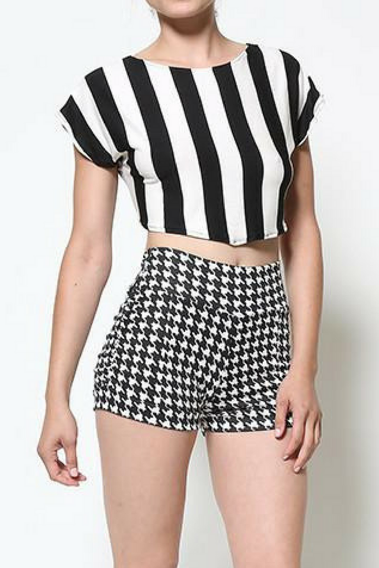 Houndstooth High-Waisted Shorts