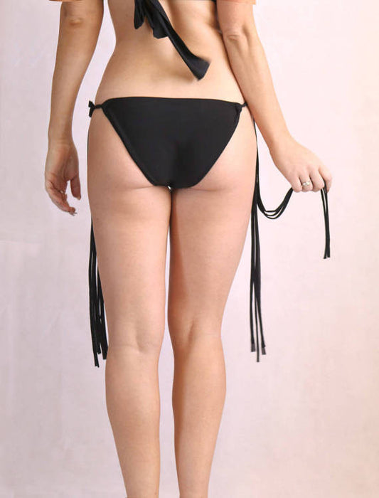 Black Tasseled Bathing Suit Bottoms
