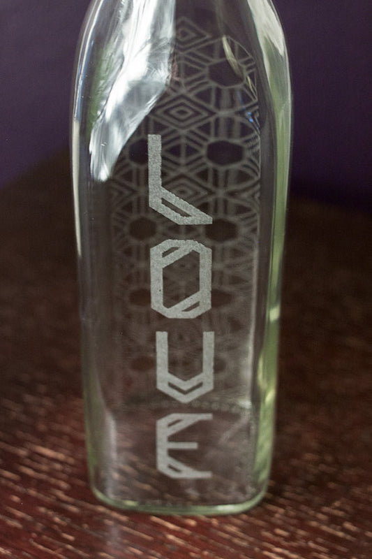 Reusable Etched Glass Water Bottle -- Tribe of Love