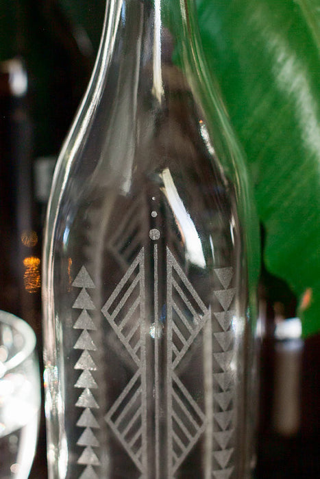 Reusable Etched Glass Water Bottle -- Zigs and Zags