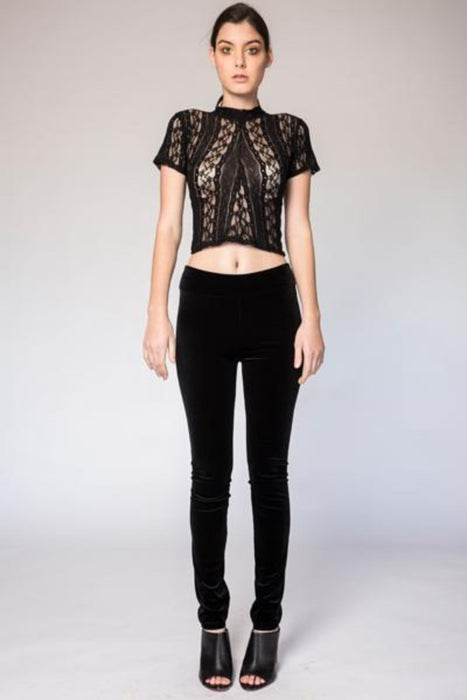 High Waisted Velvet Leggings