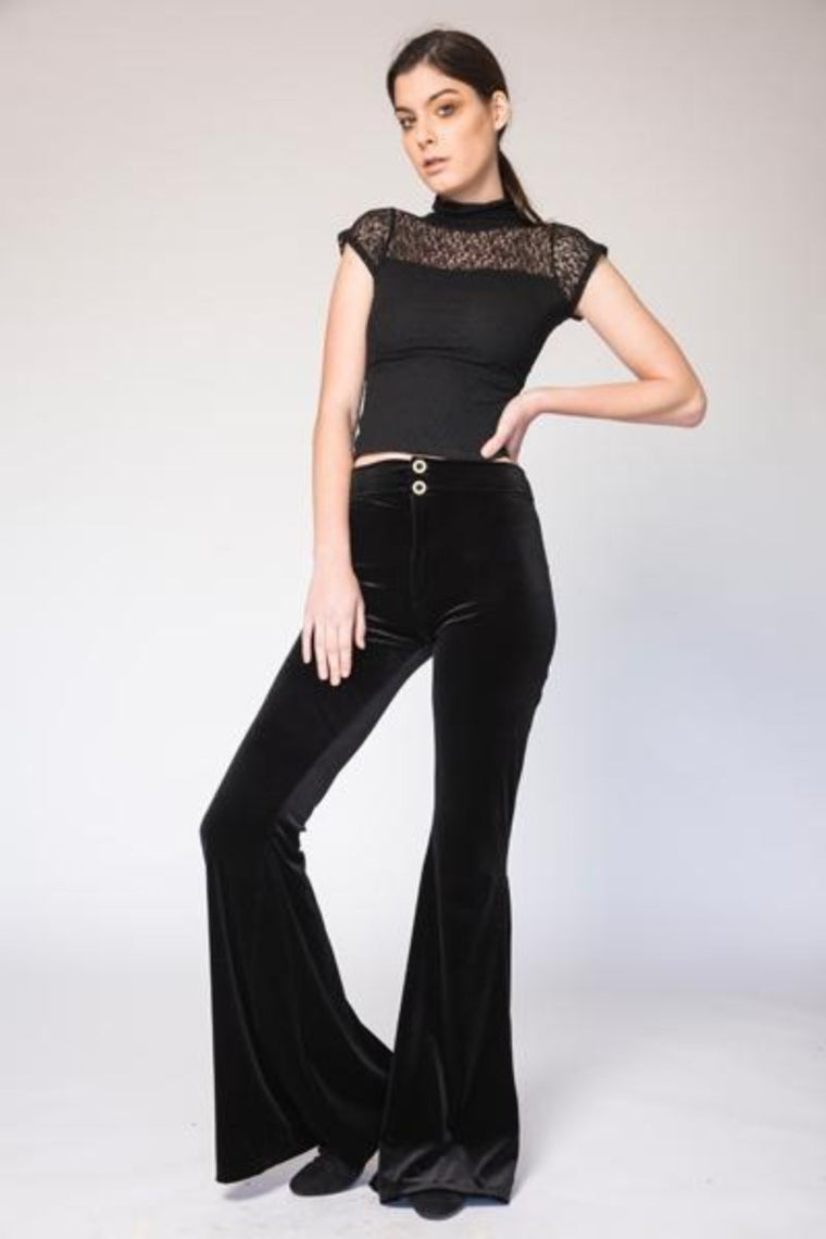 Kat High Waisted Velvet Flairs