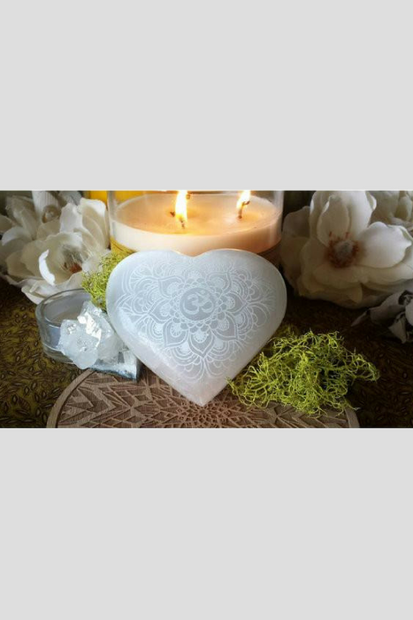 "Indian Henna Mehndi Selenite Heart ""The Blossoming of Oneness"""