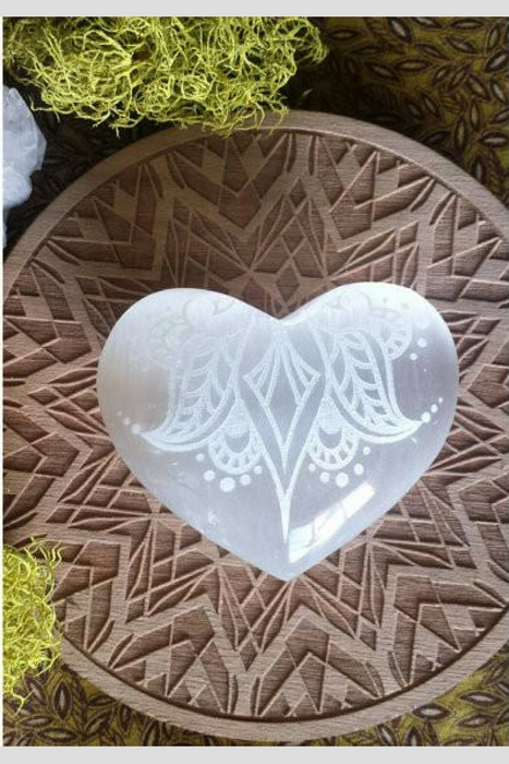 "Indian Henna Mehndi Selenite Heart ""Sweetest Surrender"""