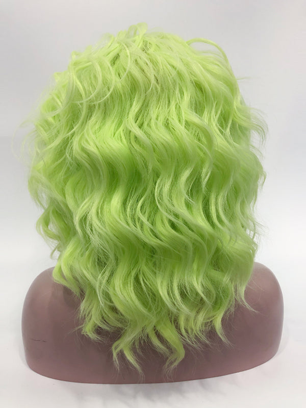 Neon Green Curly Synthetic Wigs