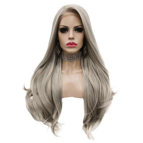 Fashion 26inch Sliver Grey Synthetic Hair Lace Front Wigs AMC3