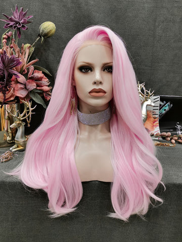City Star - New Pastel Pink Neon Long Straight Synthetic Lace Front Wigs