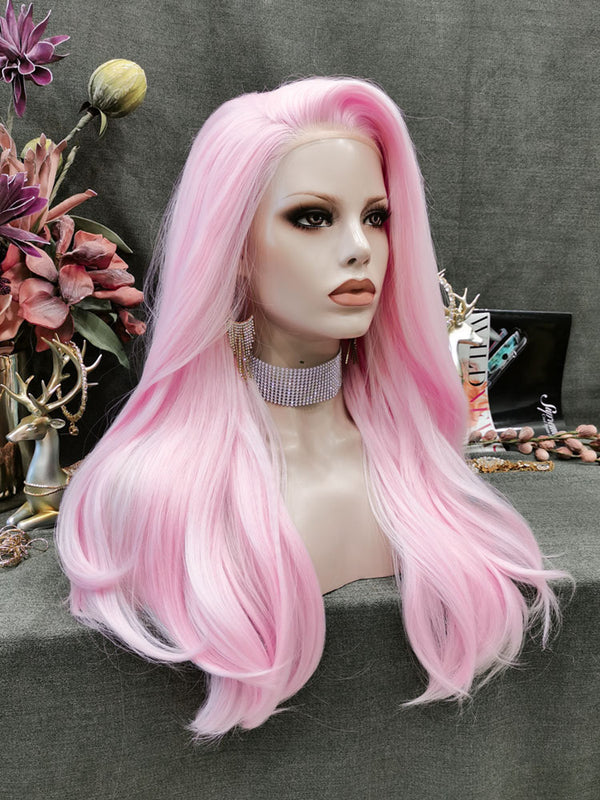 New Pastel Pink Neon Hair Synthetic Lace Front Wigs