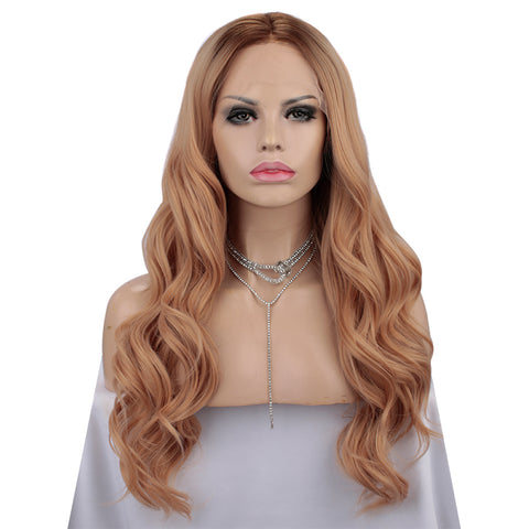 New Orange Wavy Synthetic Wig Autumn-Winter