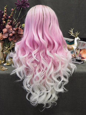 Dark Rooted Pink White Wavy Wigs 2020 IM5C152