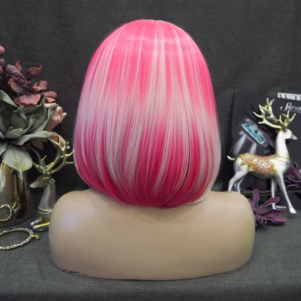 New Pink Blonde Ombre Bob Wig-60/TF2315