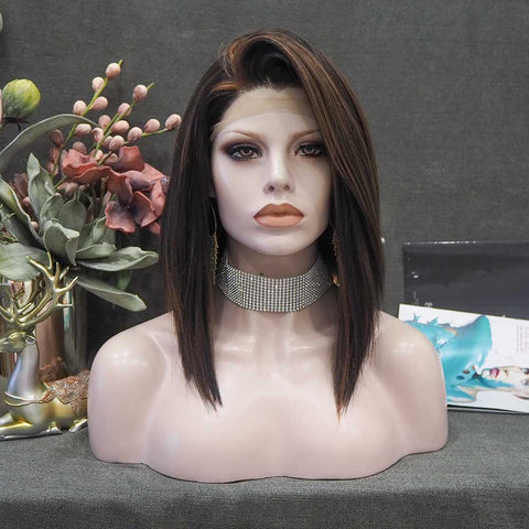 Lima - Black With Brown Highlight Shoulder Length Straight Lace Front Wig N20430