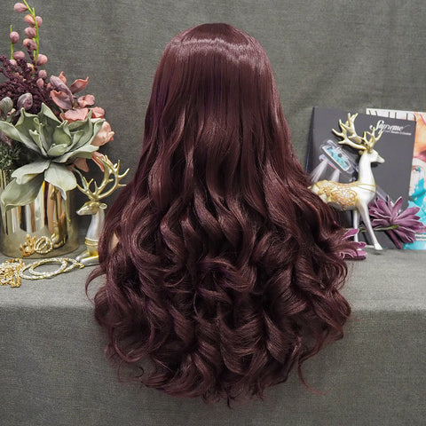 Limited Wig IM18 Beautiful Long Wavy Wigs Reddish Brown