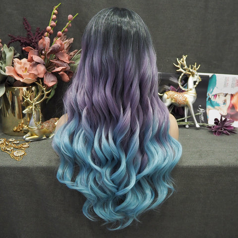 Limited Wig IM12 Dark Root Purple to Blue Wavy Wig