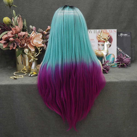 Mermaid Green Purple Wig-W115