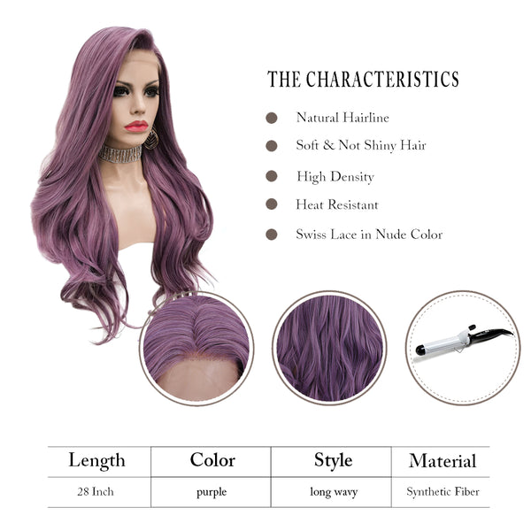 Lilac Purple Lace Front Synthetic Wig AMC2
