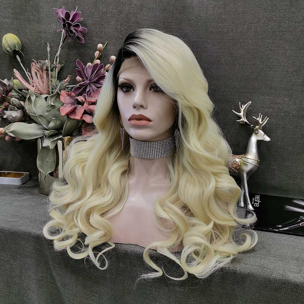 Bonnie - Platinum Blonde with Dark Root Wavy Synthetic Lace Front Wig W113