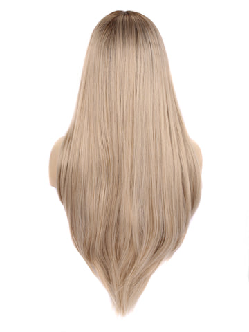 Pinkshow Straight Ash Blonde Synthetic Lace Front Wig C7