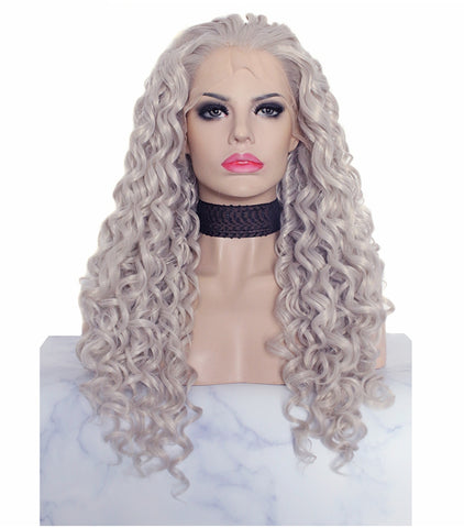 Silver Grey Color Kinky Curly Lace Front Synthetic Wig AM1845031001