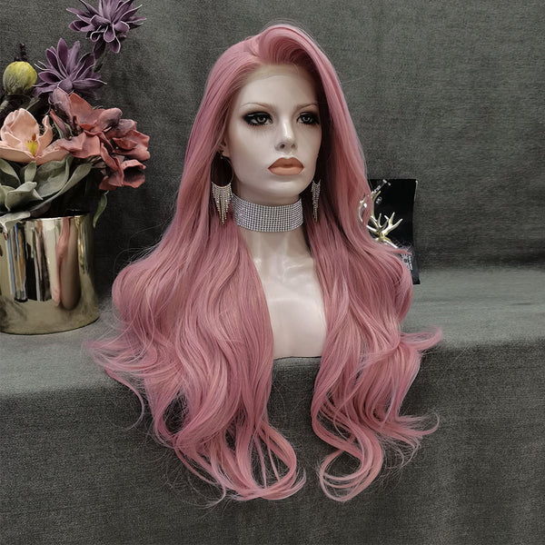 Marshimallow - Pink Long Wavy Synthetic Lace Front Wig