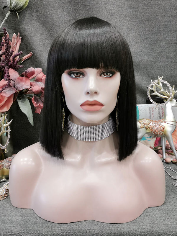 Natural Black Straight Bob Wig With Hair Bangs CFW002