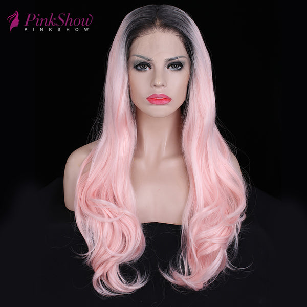 Pastel Pink Wavy Hair With Dark Roots Lace Front Wigs