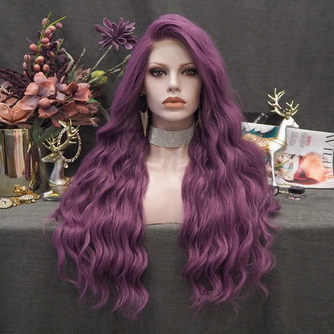 Grape Soda - Purple Long Loose Wave Synthetic Lace Front Wig  W99