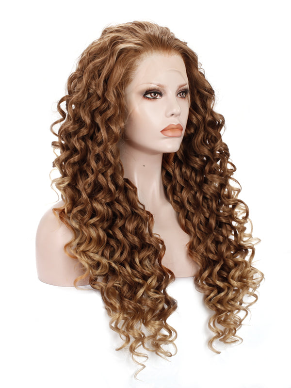 Medium Honey Blonde Kinky Curly Synthetic Lace Front Wig IM183027