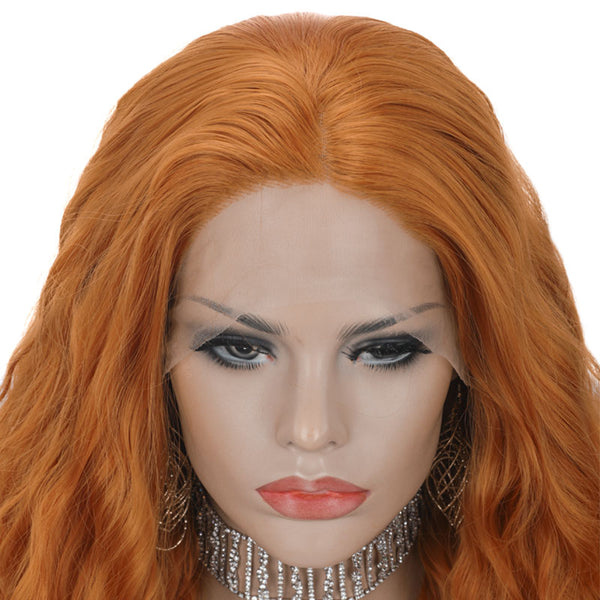 Orange Curly Synthetic Wigs