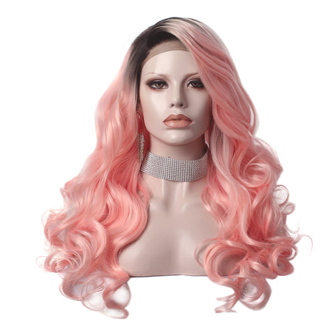 Long Body Wave Lace Front Wig W139-PINK