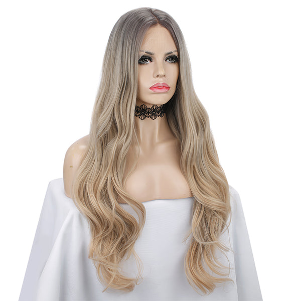 Ombre Blonde Water Wavy Synthetic Wig Autumn-Winter