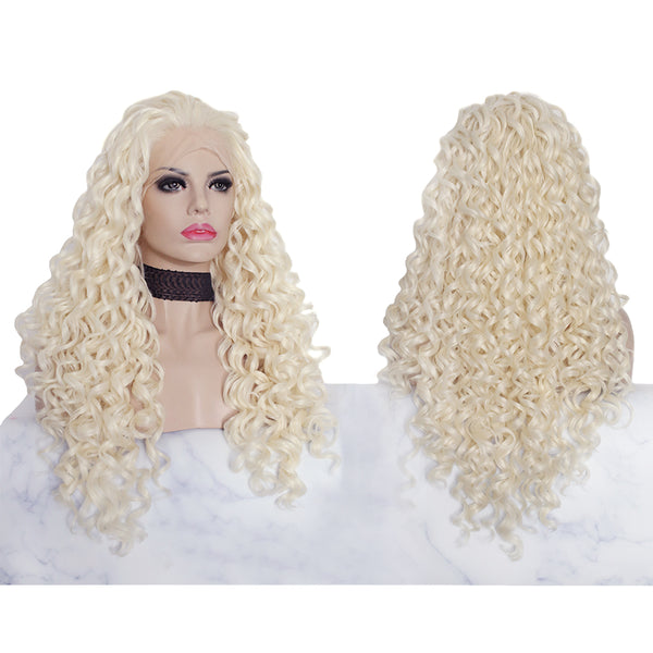 Imstyle Platinum Blonde Kinky Curly Glueless Lace Front Synthetic Wigs for women 26 inch