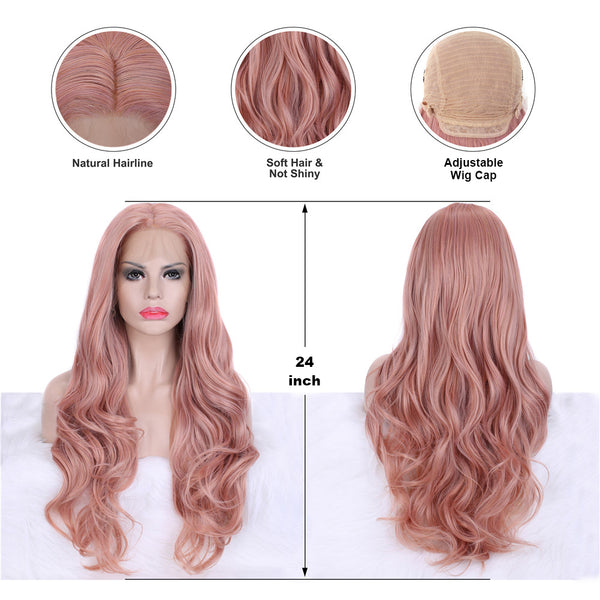 Natural Layered Wavy Peach Pink Mixed Color Synthetic Lace Front Wigs - Imstylewigs
