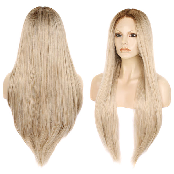 Long Straight Ash Blonde Glueless Synthetic Lace Front Wigs